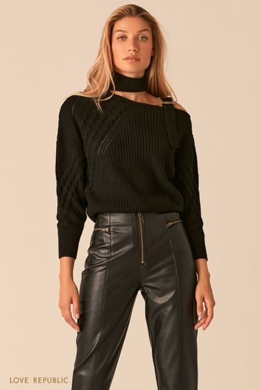 Черный свитер с фигурным вырезом на одно плечо 0359309809