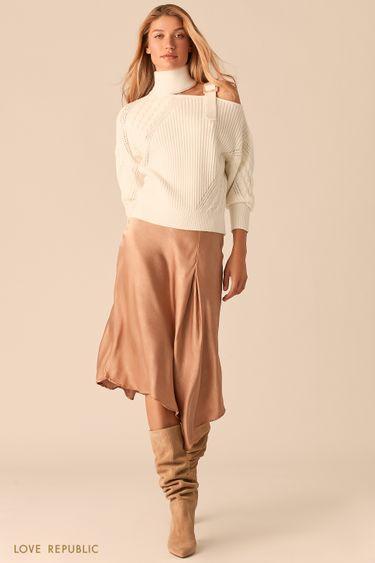 Молочный свитер с фигурным вырезом на одно плечо 0359309809