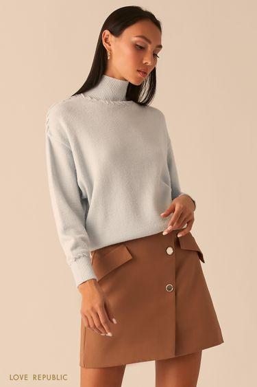 Голубой свитер с плетеными швами 0359309810