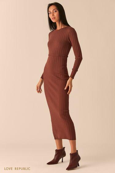 Трикотажное платье миди с поясом-косичкой шоколадного оттенка 0359313564