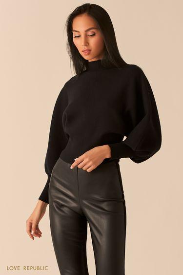 """Oversize свитер с объемными рукавами """"летучая мышь"""" черного цвета 0359316815"""