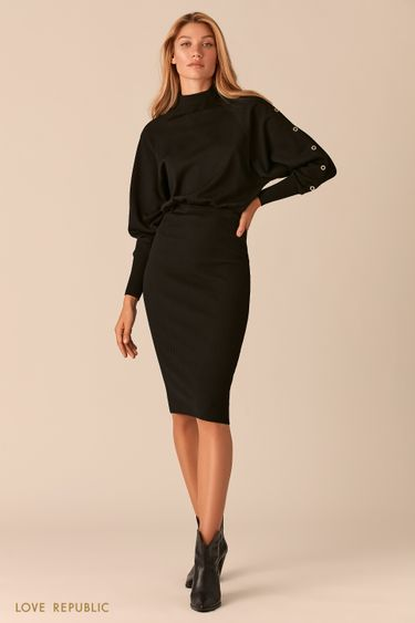 Трикотажное черное платье миди с юбкой в рубчик 0359322578