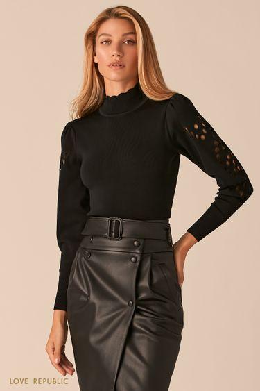 Облегающий черный свитер с перфорацией 0359325821