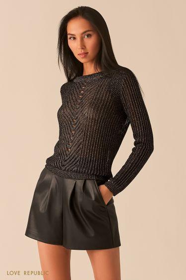 Черный трикотажный джемпер с фигурным плетением и блестящими нитями 0359331827