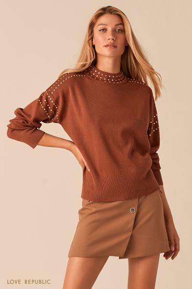 Мягкий свитер с металлическими заклепками 0359342839