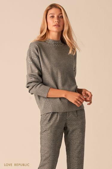 Мягкий свитер с металлическими заклепками цвета серый меланж 0359342839