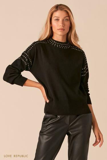 Мягкий черный свитер с металлическими заклепками 0359342839