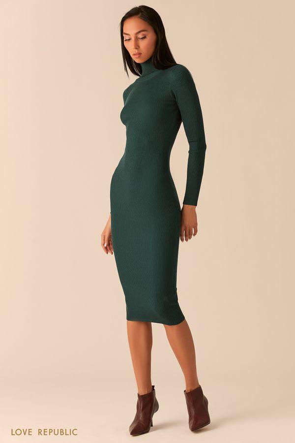 Платье из рельефного трикотажа с высоким горлом голубого цвета 03593070579-41