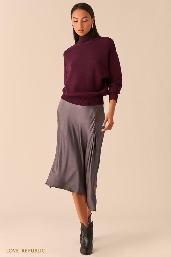 Свитер с плетеными швами изумрудного цвета 0359309810-16