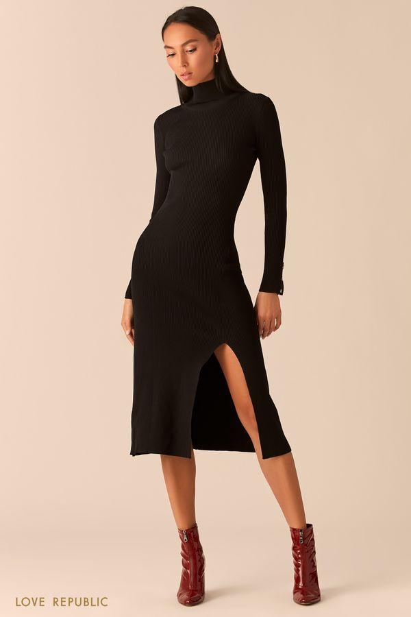 Трикотажное платье в рубчик с разрезом темно-синего цвета 0359310562-47