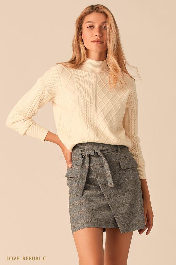 Мягкий свитер с комбинированной фактурой молочного оттенка 0359315814-60