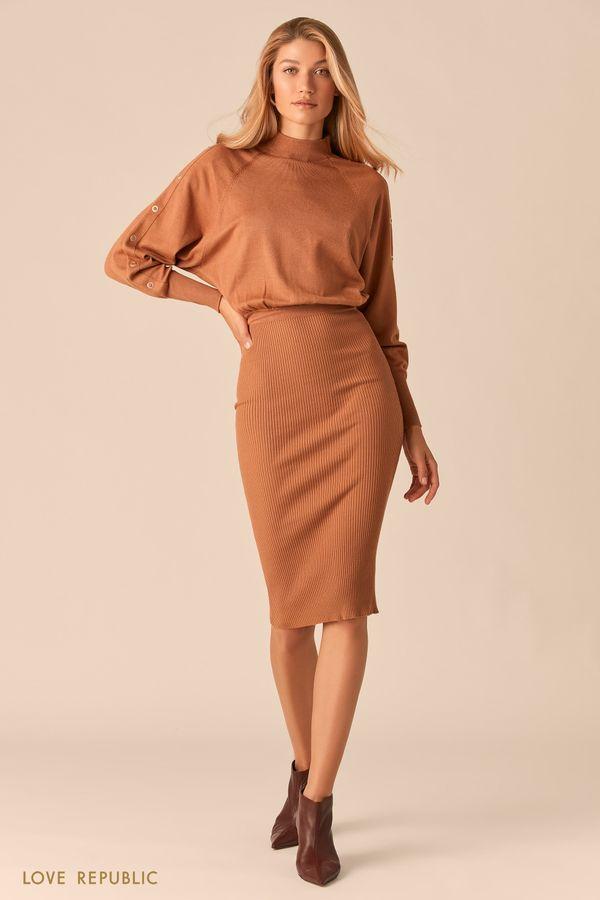 Трикотажное платье миди с юбкой в рубчик 0359322578-63