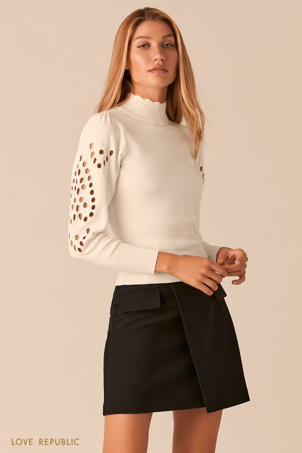 Облегающий черный свитер с перфорацией 0359325821-50