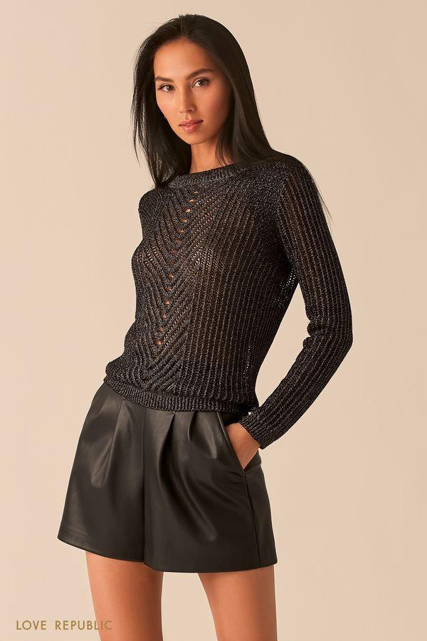 Черный трикотажный джемпер с фигурным плетением и блестящими нитями 0359331827-50