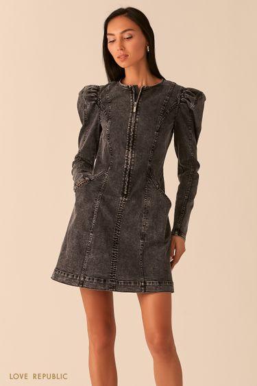 Платье из серого денима с рукавами-фонариками 0359403517
