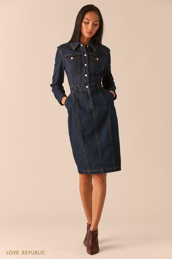 Приталенное платье из денима в оттенке темный индиго 0359411509-104