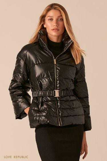 Дутая куртка черного цвета с поясом на талии 0359522119