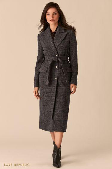 Серое приталенное пальто с широкими лацканами и принтом в клетку 0359524114