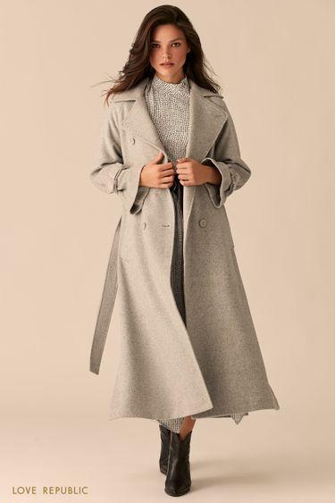Двубортное светло-серое пальто с боковыми разрезами 0359525121
