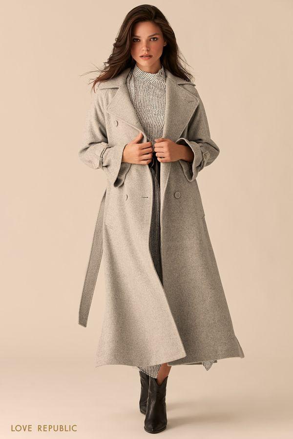 Двубортное светло-серое пальто с боковыми разрезами 0359525121-30
