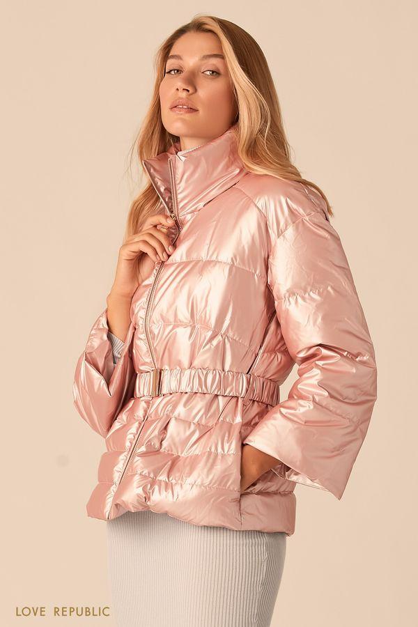 Дутая пудровая куртка с эффектом металлик 0359527119-92