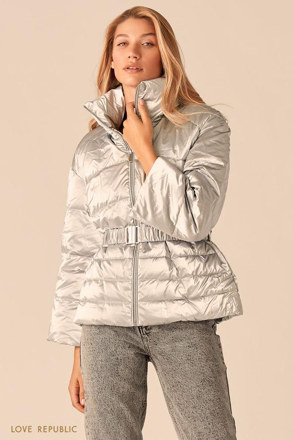 Дутая серебряная куртка с эффектом металлик 0359528119-31