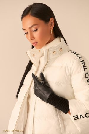 Перчатки из натуральной кожи с трикотажными манжетами