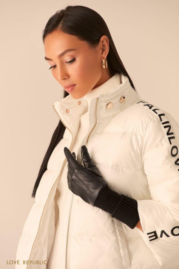 Перчатки из натуральной кожи с трикотажными манжетами 044017007-50
