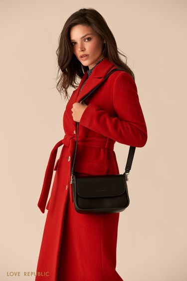 Лаконичная черная сумка-багет с двумя ручками 044020141