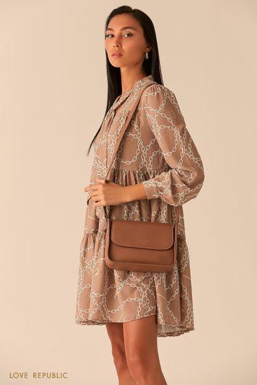 Лаконичная сумка-багет с двумя ручками 044020141