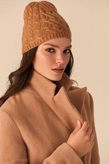 Шерстяная шапка-бини с фактурными косами 044029005