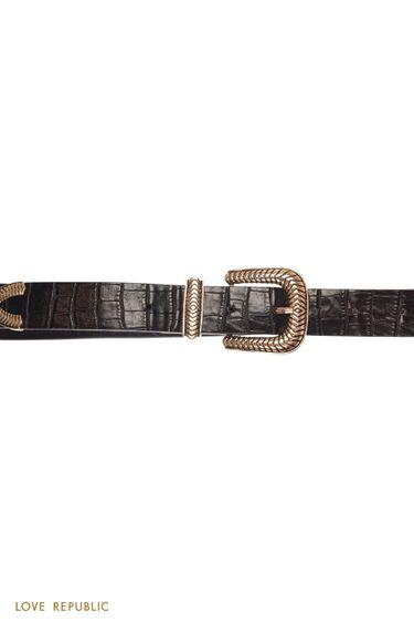 Черный ремень с тиснением под змеиную кожу и фигурной пряжкой 044121145