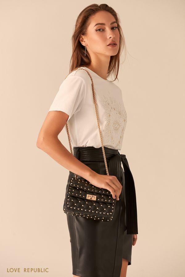 Черная стеганая сумка кросс-боди на цепочке 044120147-50