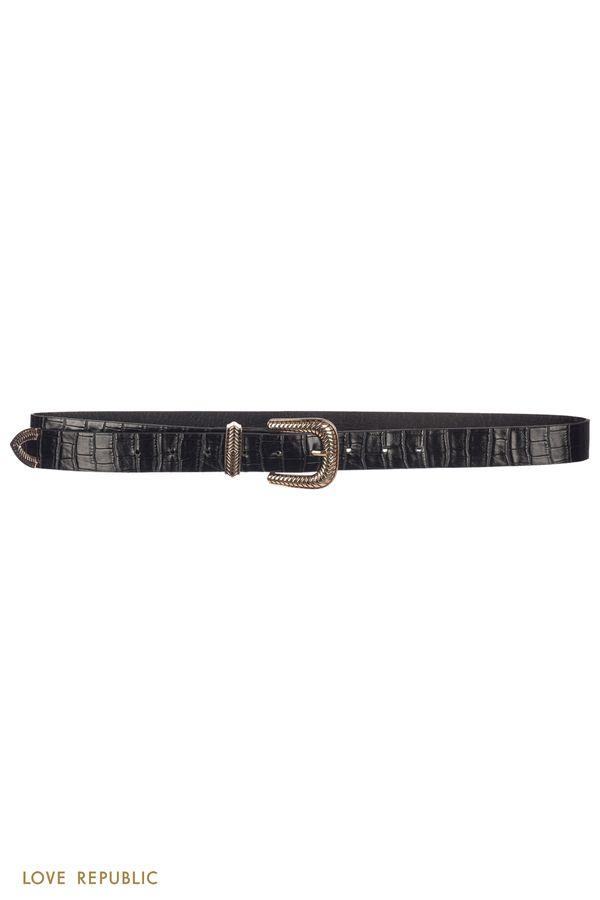 Черный ремень с тиснением под змеиную кожу и фигурной пряжкой 044121145-50