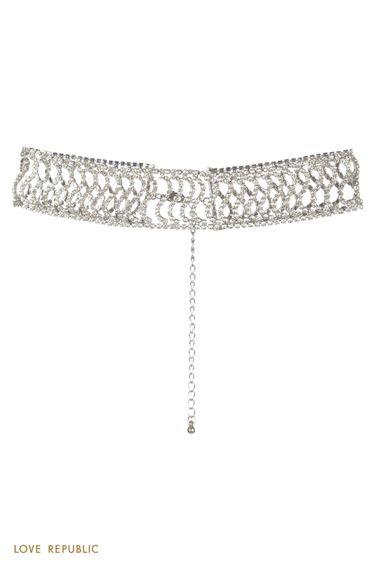 Широкое серебристое колье-чокер со стразами 044145071