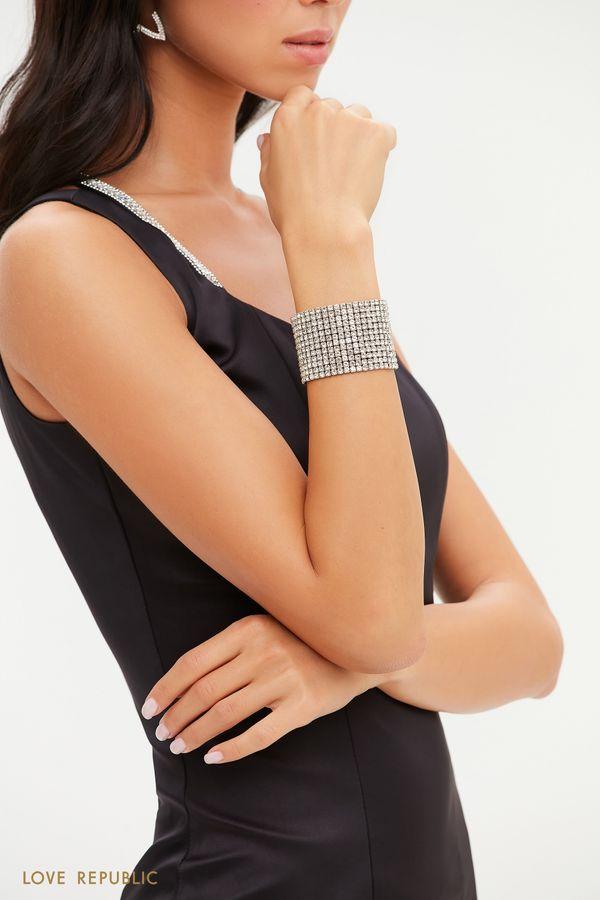 Широкий серебристый браслет со стразами 044148074-7