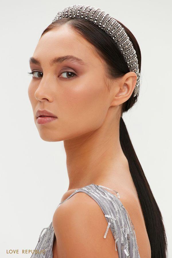 Ободок для волос с отделкой бисером 044148086-7