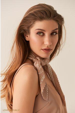 Купить со скидкой Плиссированный шейный платок с принтом молочного оттенка