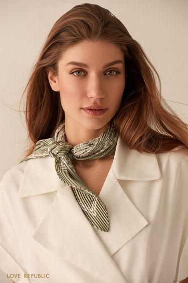 Плиссированный светло-зеленый шейный платок с принтом 044515002
