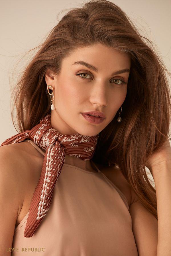 Плиссированный шейный платок с принтом кирпичного цвета 044515002-21