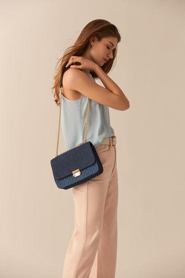 Синяя сумка из денима на цепочке 044520124