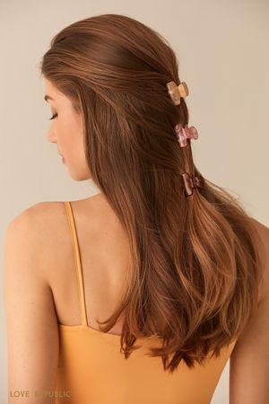 Набор миниатюрных заколок-крабиков для волос фото