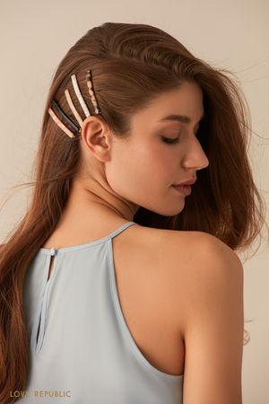 Комплект из пяти лаконичных зажимов для волос фото