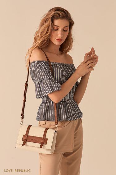 Молочная сумка кросс-боди с кожаными вставками 044620126