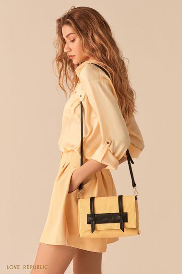 Желтая сумка кросс-боди с кожаными вставками 044620126