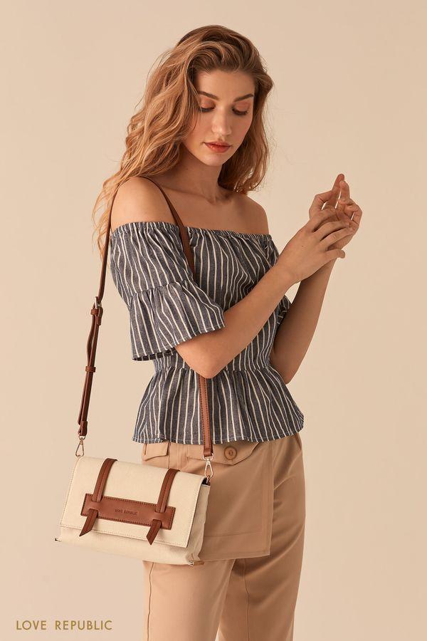 Молочная сумка кросс-боди с кожаными вставками 044620126-60