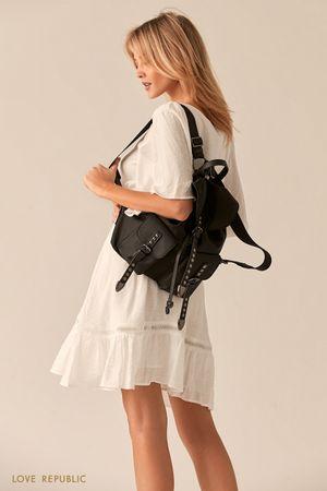 Текстильный рюкзак с ремешками из экокожи и заклепками фото