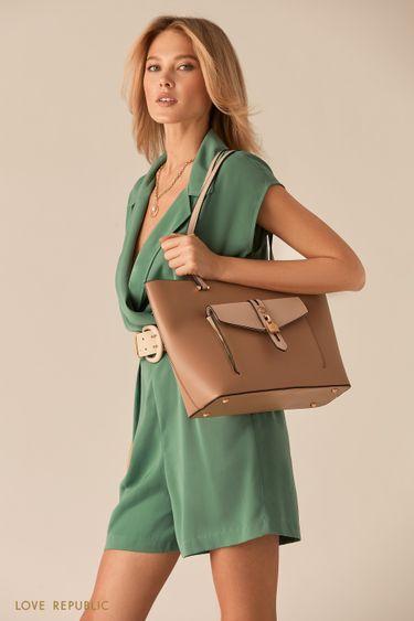 Бежевая сумка-шоппер с накладным карманом 044720132