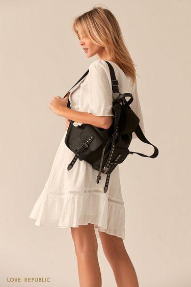 Текстильный рюкзак с ремешками из экокожи и заклепками 044720134