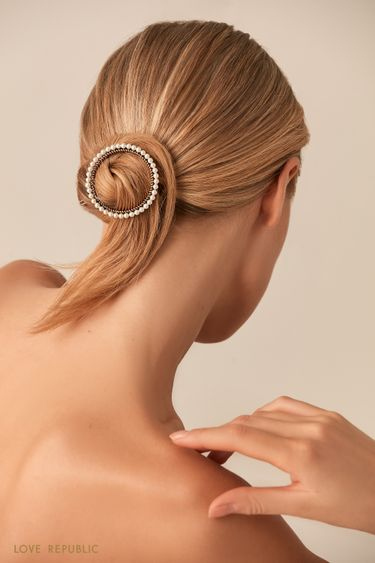 Заколка для волос с жемчужным декором по окружности 044748061